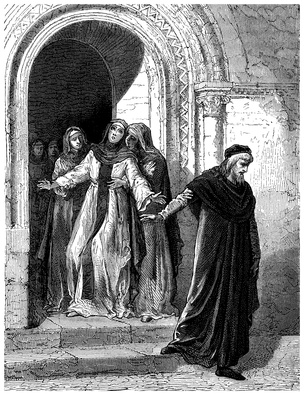 Abelard leaving Helose - 12th century